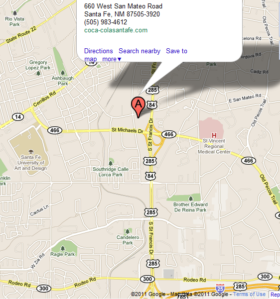 Google Map Directions to Coca-Cola Santa Fe